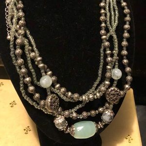 Silver and Sea Green Premier Designs Necklace
